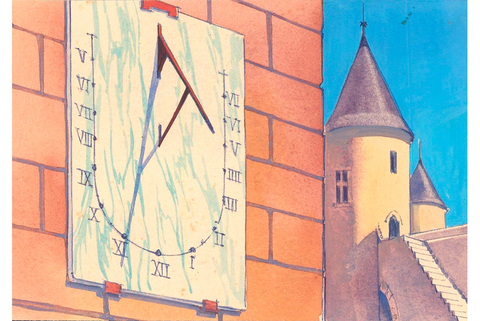 Sundial, from Science Fiction Imagery and Futuristic Landscapes, France, ca. 1925, Gouache and watercolor, 3 3/4 x 5 1/4 in. Courtesy Ursus Prints.