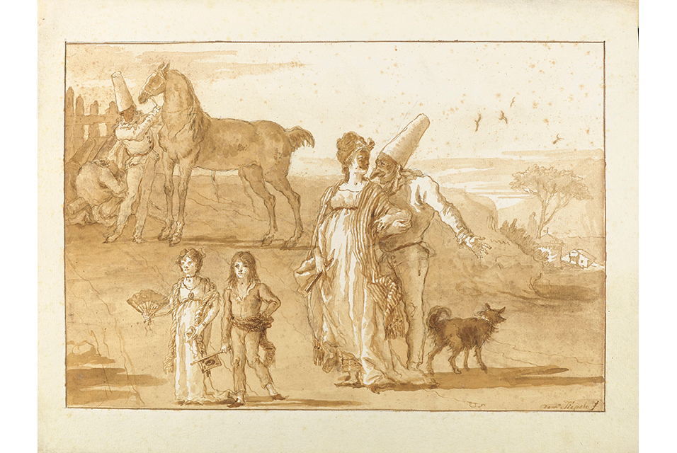Giovanni Domenico Tiepolo, Punchinello strolling with a Lady, accompanied by two children. 35,7 x 47,2 cm. (14 x 18Ω in.). Estimate: €200,000-300,000. © Christie's Images Ltd 2020.