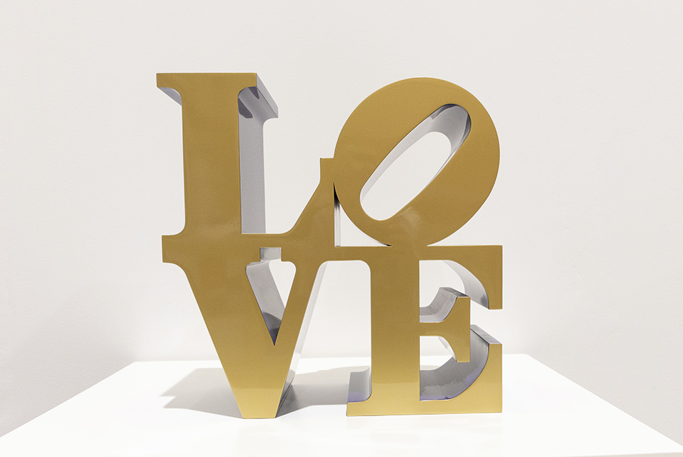 Robert Indiana, LOVE (Gold Face - Blue Sides), 1966-2002. Est. £180,000 - 250,000. Courtesy Sotheby's.