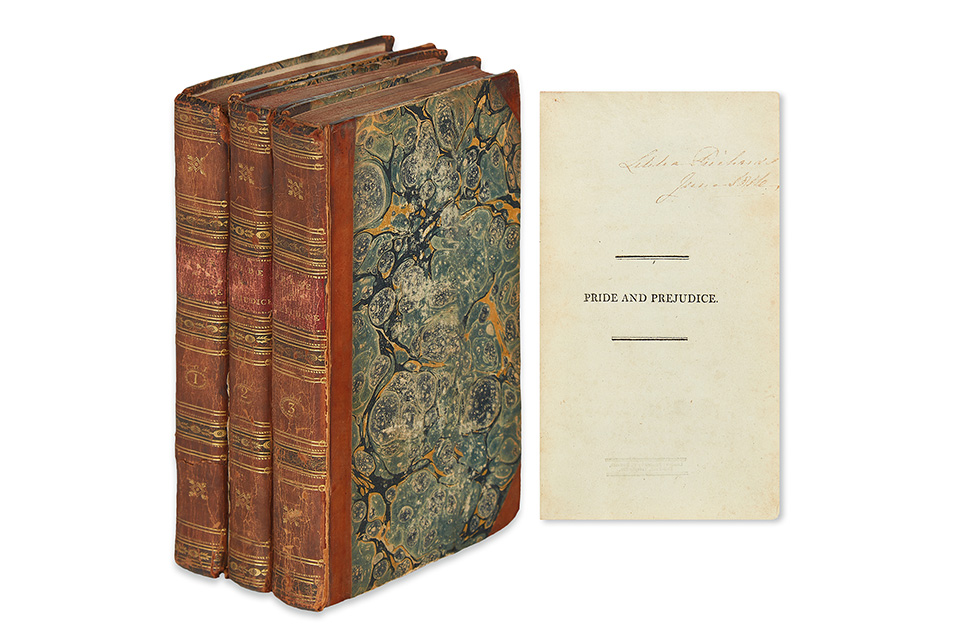 Jane Austen, Pride and Prejudice, first edition, three volumes, London, 1813. Sold for $100,000.