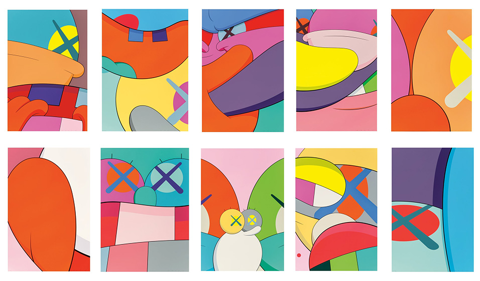 KAWS (b. 1974), NO REPLY, 2015. Ten screenprints in colors on wove paper, in a lipped clamshell portfolio box