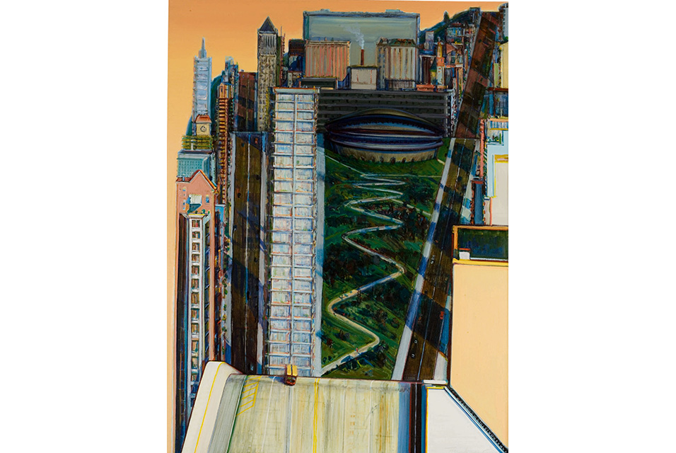 Wayne Thiebaud, Civic Center, signed and dated 1986 twice, oil on canvas.  Courtesy Sotheby's.
