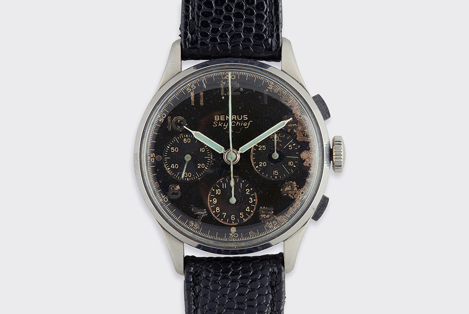 A collection of two stainless steel chronograph strap wristwatches, Benrus and Vantage, circa 1950's and 1960's. Diameter: 35 and 37mm, respectively; Length: 8 1/2 to 9 in. Estimate $500-700. Sold for $2,000 (buyer's premium included).