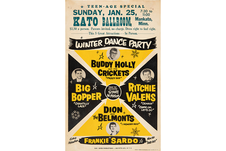 Buddy Holly & The Crickets Stunningly Rare 1959 Winter Dance Party Concert Poster. Estimate: $50,000-100,000. Imaged by Heritage Auctions.