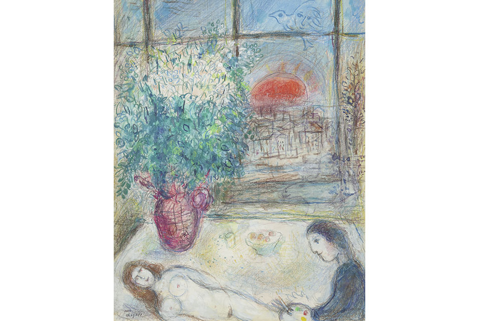 Marc Chagall, Devant la fenêtre, executed circa 1974-75. Estimate: $200/300,000. Courtesy Sotheby's.