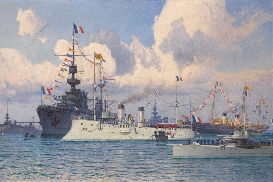Mikhail Tkachenko, Meeting of Tsar Nicolas II and the President of the French Republic Armand Fallieres in Cherbourg Harbour on 31 July 1909. Estimate £80,000 – 120,000.