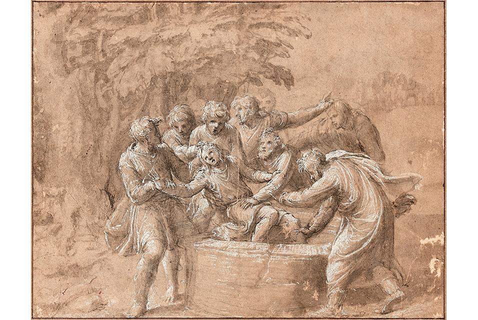 Polidoro Caldara, known as Polidoro da Caravaggio, Joseph jeté dans le puits par ses frères, pen and brown ink, bistre wash and white gouache highlights, on black pencil lines, 21 x 27cm. Estimate: €180,000 - 220,000.