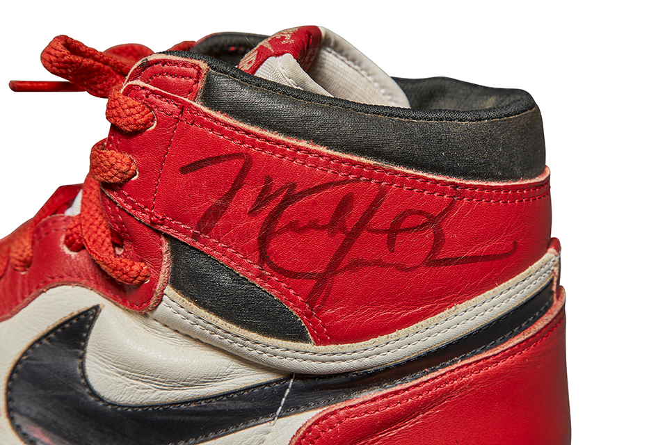 Michael Jordan's Game-Worn, Autographed Nike Air Jordan 1s, 1985. Courtesy Sotheby's.