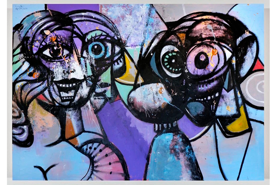 """Distanced Figures 3"" by George Condo was a perfect match for an art fair forced online by the coronavirus. George Condo/Artists Rights Society (ARS), New York; via Hauser & Wirth. by Robin Pogrebin"