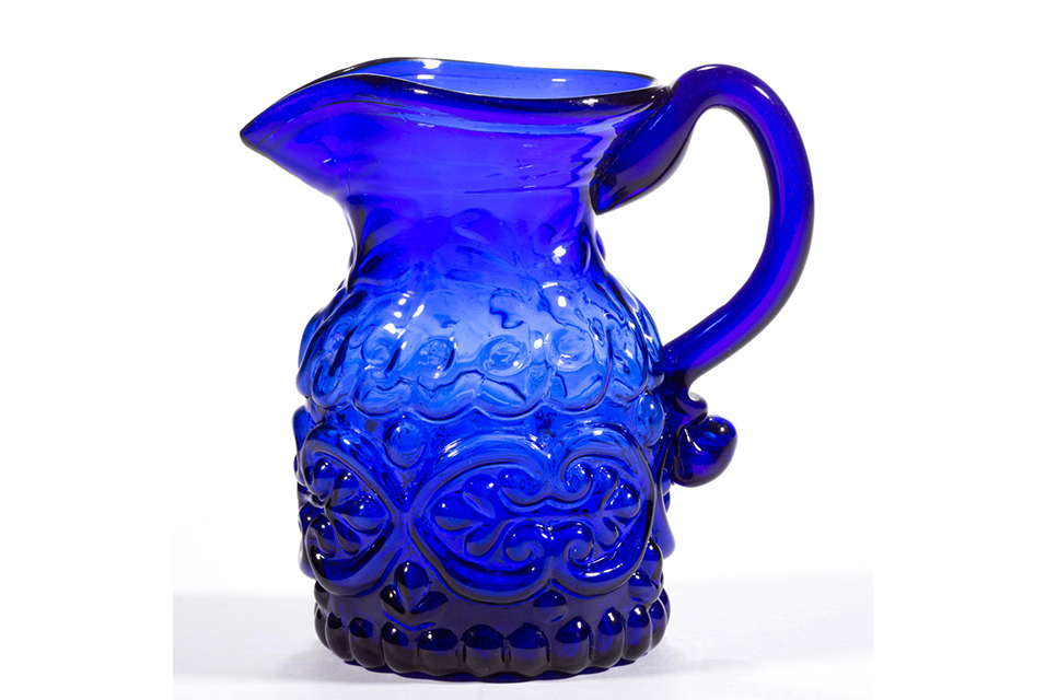 Blown-molded GV-14 cream jug, Lot 1269, $7,605.