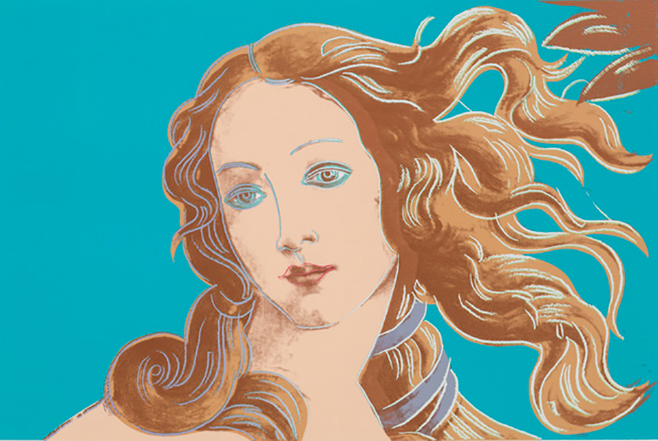 Andy Warhol, Details of Renaissance Paintings, Sandro Botticelli, Birth of Venus, 1482, 1984. Screenprint, 32 × 44 in, 81.3 × 111.8 cm. Edition of 70 + proofs.