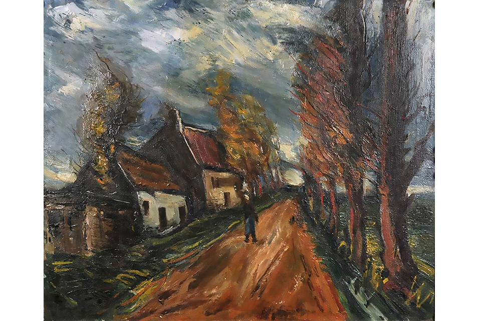 Maurice de Vlaminck (1876-1958), Figure walking on a tree-lined country road, signed, in a hand carved frame. Inscribed to the reverse: A André Breton, Amicalement, Vlaminck. 50 x 61cm. Estimate: £10,000-15,000.