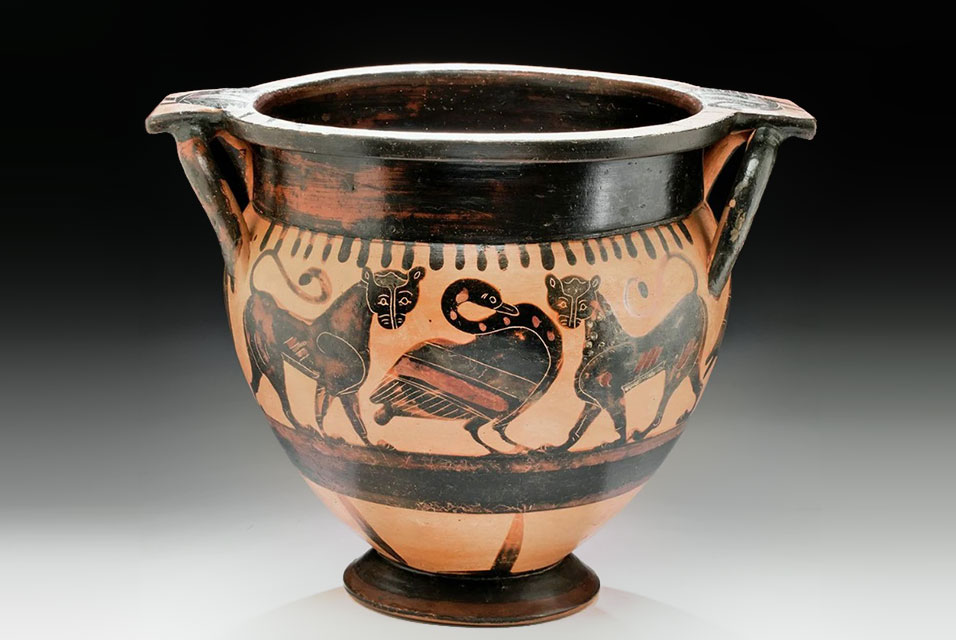 Ancient Greek Attic black-figure krater by 'Painter of Louvre F6,' circa 560-550 BCE, 14in wide with iconographic program featuring a swan between two confronting panthers. Estimate $25,000-$40,000