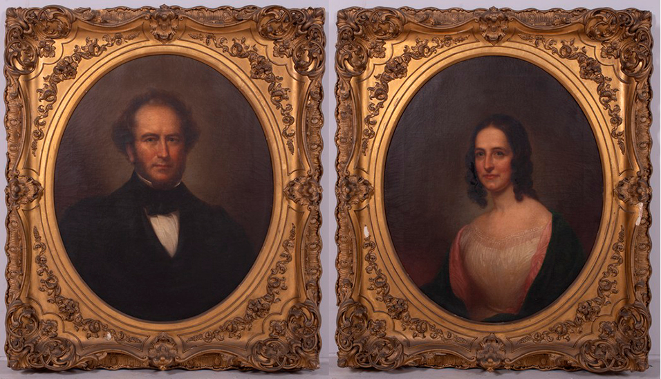 Rembrandt Peale (American, 1778-1860), portraits of Richard Colgate Dale Jr (1810-1876) and Elizabeth Woodruff Dale, oils-on-canvas, signed 'Rembrandt Peale 1857,' each 30¾ x 25in (sight), exhibition labels from Pennsylvania Academy of Fine Arts, carved and gilded frames. Hopkinson Family Archive. Estimate $10,000-$20,000.