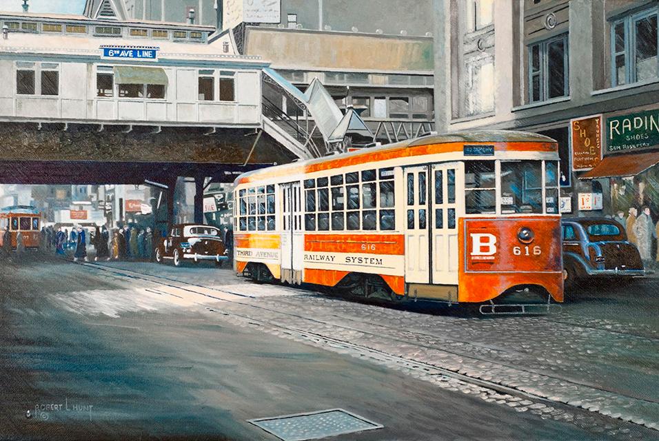 """Robert L. Hunt, Tars to Broadway. Oil on canvas 14"""" X 21"""". Est: $2,900 - $3,400."""