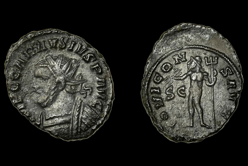 The bronze coin, known as an antoninianus, was struck by Carausius in 291 in order to pay his army.