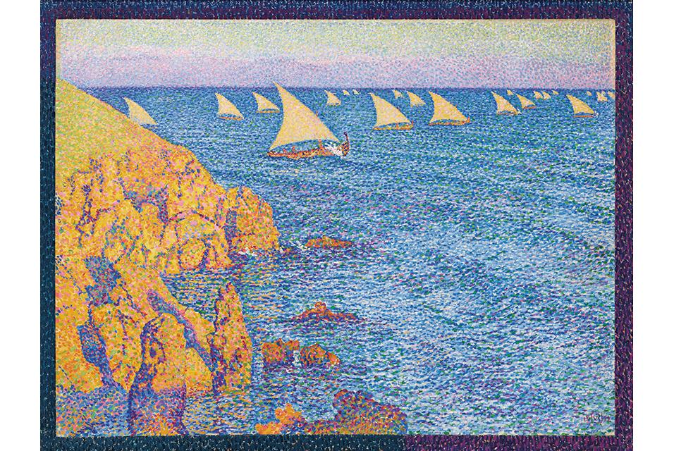 Théo van Rysselberghe (1862-1926), Barques de pêche–Méditerranée, oil on canvas, 1892| $7-10 million. © Christie's Images Ltd 2020.