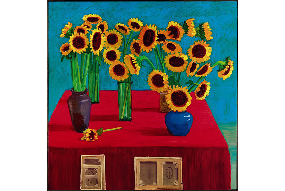 David Hockney, 30 Sunflowers, 1996, oil on canvas, 182.9 by 182.9 cm. Estimate Upon Request. Courtesy Sotheby's.