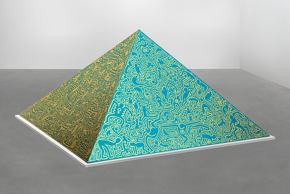 Keith Haring (Kutztown 1958–1990 New York), Pyramid Sculpture, 1989, signed, dated (incised) on plate on the inside of the pyramid K. Haring 89, anodized aluminium, one of 2 PP aside the edition of 15 (+6 AP), fabricators: Domberger, Stuttgart and Aluplan GmbH, Korb/ Stuttgart, edited by Schellman Art Production Munich/ New York (stamped on the plate), 144 x 144 x 75 cm, estimate € 120,000 - 160, 000.