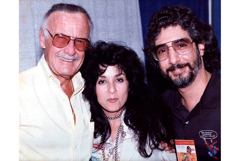 In a vintage photo from Gary Guzzo's personal archive, he is shown (at right) with Marvel Comics legend Stan Lee and renowned 'pinup' artist Olivia De Berardinis at San Diego Comic-Con in 1994. Photo courtesy of Gary Guzzo.