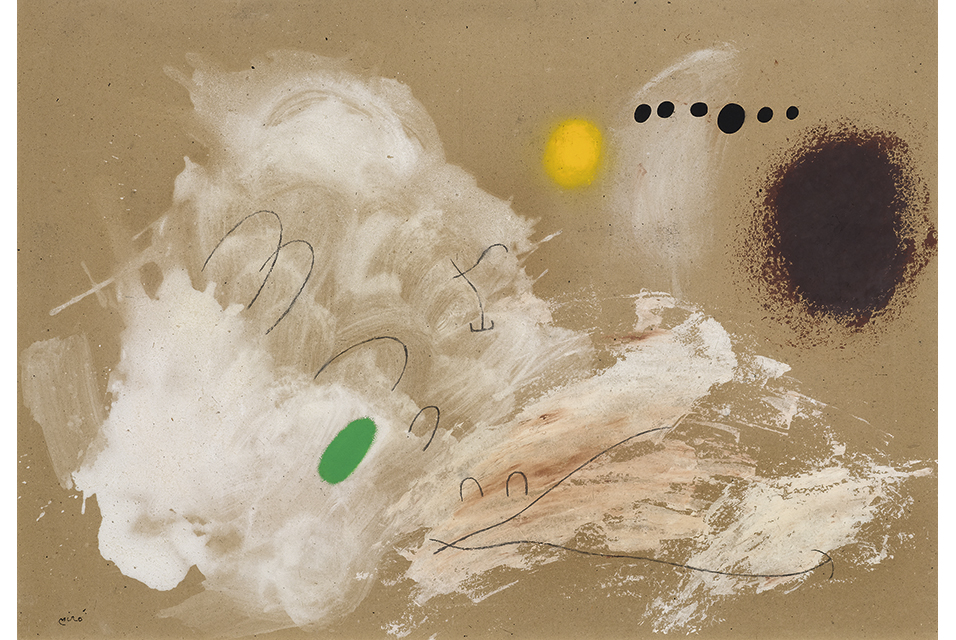 Joan Miró (Montroig near Barcelona 1893–1983 Palma de Mallorca), Solitude III/III. 29 April 1960. Oil and charcoal on cardboard. Signed lower left: Miró. Signed, dated and titled on the reverse: MIRÓ. /29/4/60 / Solitude III/III. 75 × 105 cm. Estimate: CHF 320 000 / 380 000 | (€ 280 700 / 333 330).