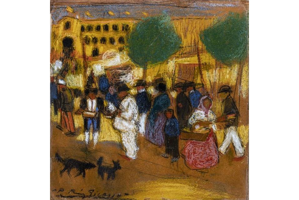 Pablo Picasso, Autour des arènes, circa 1900, pastel on cardboard (est. £250,000 – 350,000). Courtesy Sotheby's.