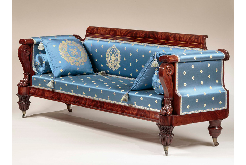 Carved Mahogany Box Sofa. Attributed to Anthony Quervelle. Philadelphia, Pennsylvania, Ca. 1830. Photo: Courtesy Carswell Rush Berlin, Inc.