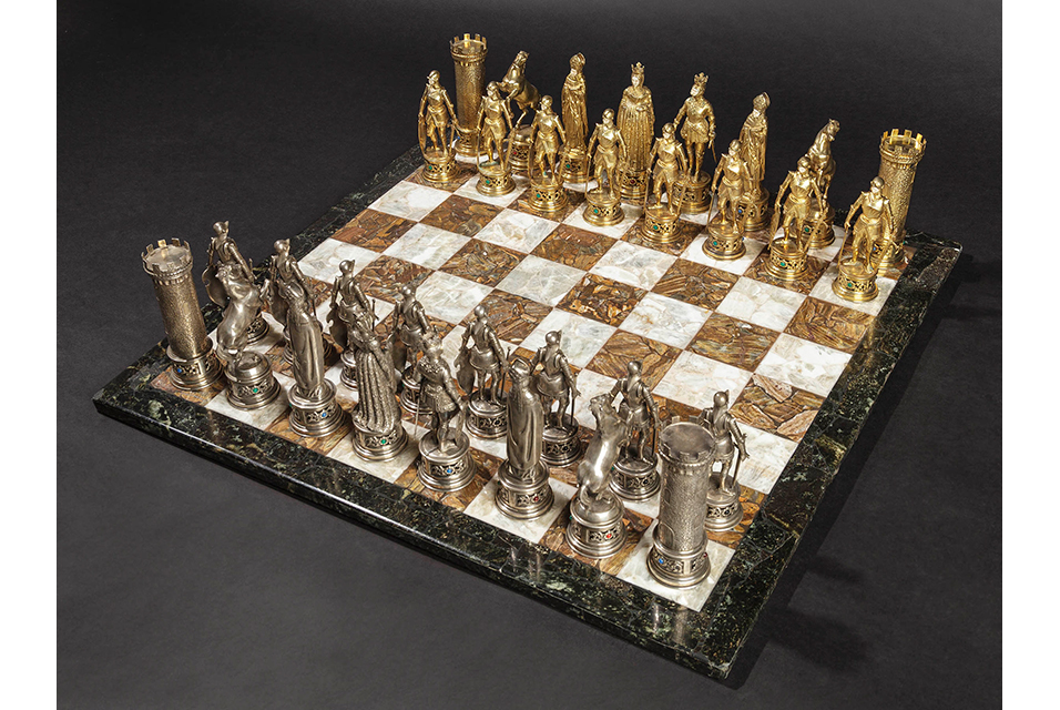 This opulent chess set sold for 52,500 euros.
