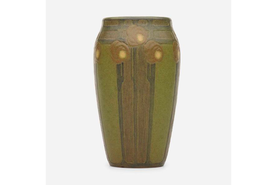 Exceptional and Rare vase by Arthur Hennessey and Sarah Tutt for Marblehead Pottery. Sold for: $150,000.
