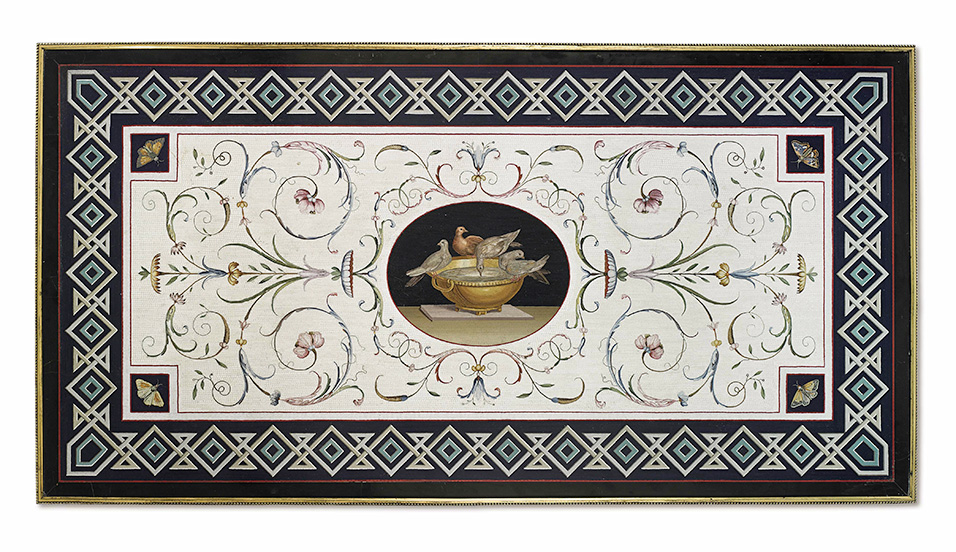 Giacomo Raffaelli (Rome 1753 - 1836), Micromosaic Tabletop with the Doves of Pliny. First Quarter of the 19th century. Micromosaic, Nero Antico Marble, 133.5 × 70 cm. (52 ½ × 27 ½ in.) Image Courtesy of Brun Fine Art.