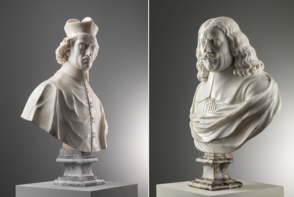 Left: Alessandro Rondoni, Bust of Cardinal Domenico Maria Corsi (1633 – 1697), 1686. Marble, 77.5 x 0 cm (30 ¹/₂ x 0 inches) Right: Alessandro Rondoni, Bust of Marquess Giovanni di Jacopo Corsi (1600 – 1661), 1685. Marble, 72 x 0 cm (28 ³/₈ x 0 inches).