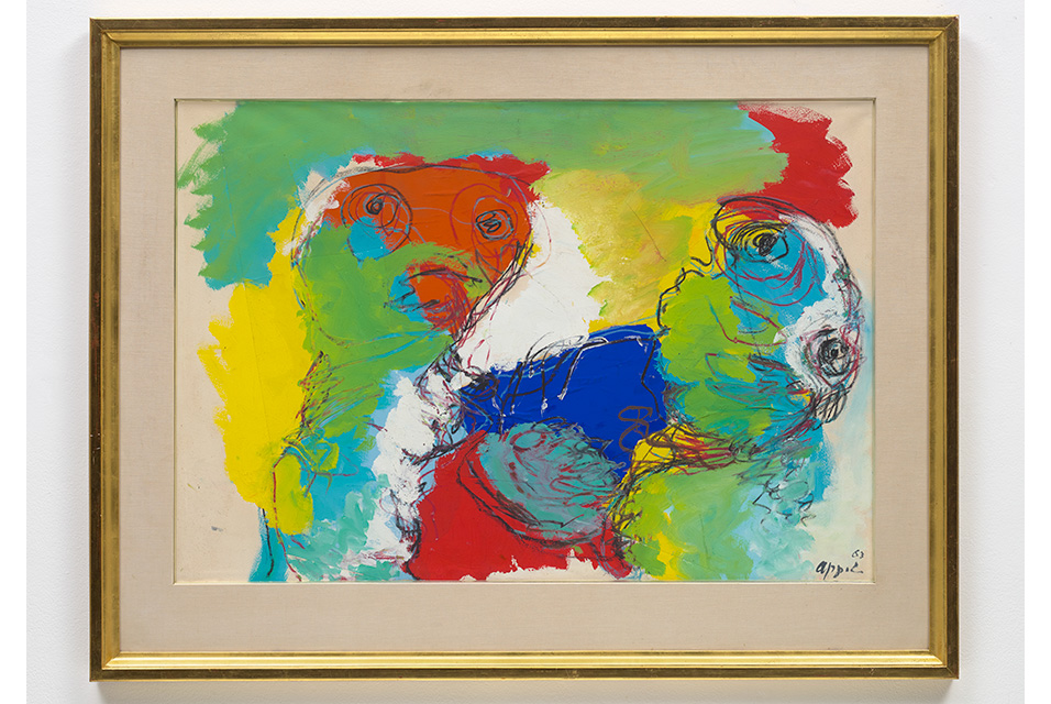 Karel Appel, Untitled. Executed in 1963. Paper collage, acrylic and oil stick on paper, 70.2 x 100.7 cm (27 5/8 x 39 5/8 in.) Estimate £10.000-15,000. Image courtesy of Phillips.
