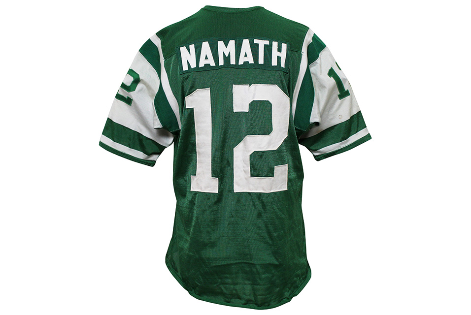 1965 Joe Namath AFL New York Jets game-used Durene rookie jersey, multiple photo-matches and graded 10. LOA from family of former NY Jets equipment manager Herb Norman.