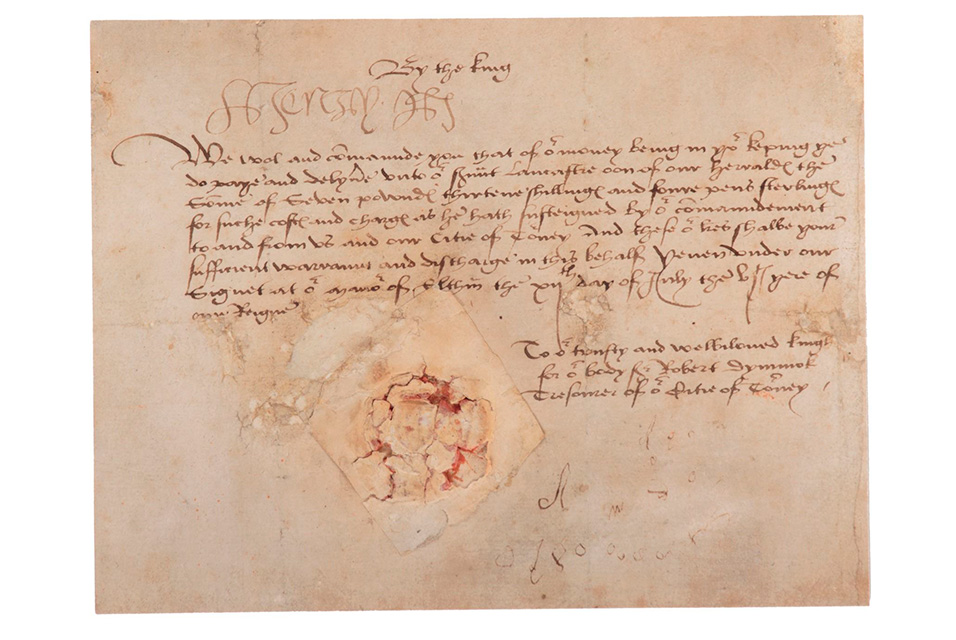 "A Henry VIII rare document signed as King of England, dated 12 July 1514, to Sir Robert Dymoke, Treasurer of the town of Tournay (Tournai). In the document, 23-year-old Henry VIII orders Sir Robert Dymoke, the ""King Champion"" at his coronation, to make payment on behalf of England and the occupied French town of Tournay (Tournai)."