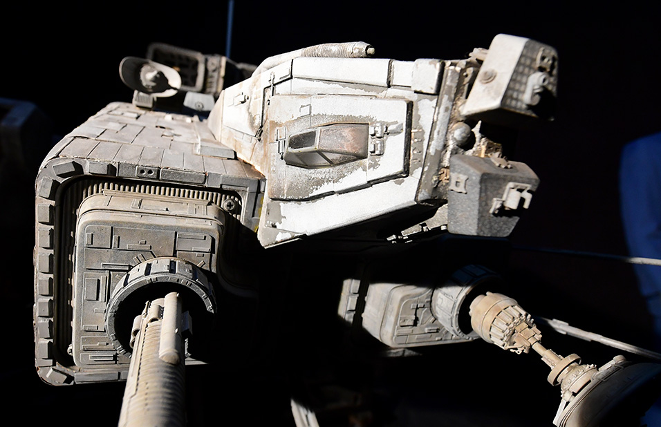 "Items up for auction at the Prop Store Auction in late August are on display at the Prop Store in Valencia, California on July 15, 2020 including the 11-foot Nostromo, the principal filming model miniature space craft from Ridley Scott's science fiction film ""Alien"", estimated at $300,000 - 500,000 USD. Maverick's fighter jet helmet, Obi-Wan Kenobi's lightsaber, Rocky's boxing gloves and an 11-foot ""Alien"" spaceship tipped to fetch half a million dollars will go up for auction in Los Angeles next month. The sale of hundreds of legendary Hollywood movie props will be live-streamed on August 26-27,2020 including items wielded by Indiana Jones and Clint Eastwood's Western outlaw Josey Wales. A giant model of ""Nostromo,"" the interstellar tug-ship on which Ridley Scott's classic ""Alien"" takes place, tops the pre-sale estimates at $300,000-500,000. Frederic J. BROWN / AFP."