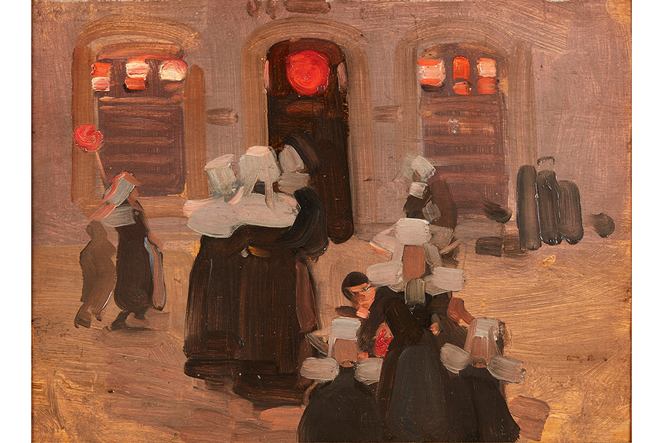 Robert Brough R.A., A.R.S.A (Scottish 1872-1905), Breton Women by Street Light. Sold for £30,000.