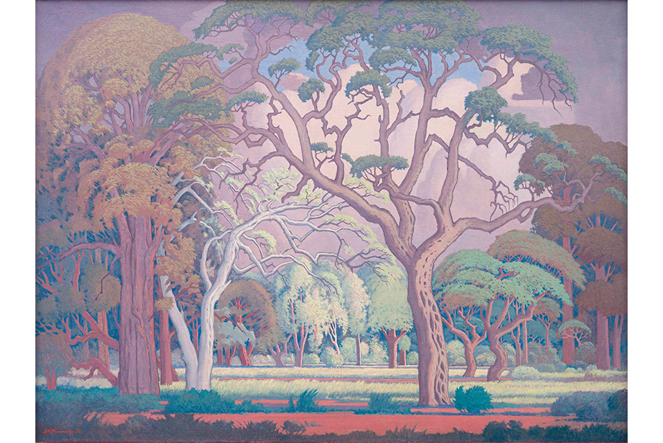 Jacob Hendrik Pierneef (South African 1886-1957), Bosveld. Signed and dated 53. Oil on canvas, 75 by 100 cm excluding frame; 100 by 125 by 8cm including frame. Estimate: R 9 000 000 - 12 000 000.