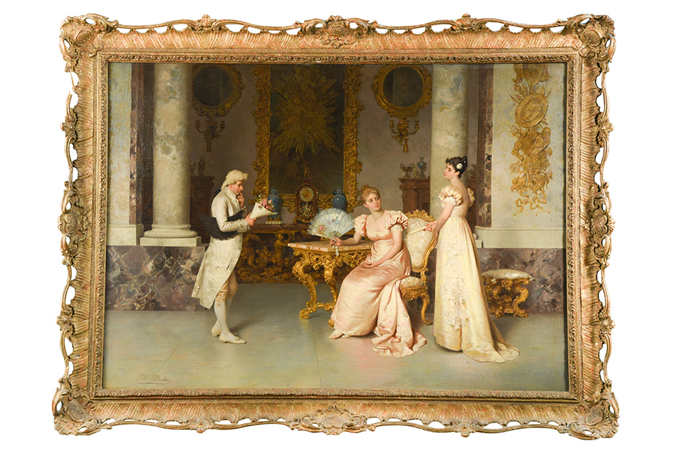Amongst the 150 paintings available, top lots include a work by Italian artist, Francesco Beda. Titled 'The Suitor', this picture dates back to the late 19th century and depicts an elegant historical genre scene with a Rococo interior, typical of Beda's signature style and which catered to the tastes of the new bourgeoisie, making him one of the most fashionable painters of the period. This is expected to make between £12,000 and £15,000.
