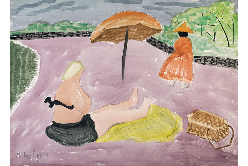 Milton Avery (1885–1965), Lavender Beach, watercolor and charcoal on paper, 1945, $100,000-150,000. © Christie's Images Ltd 2020.
