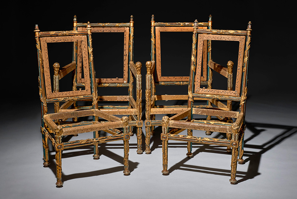 A Louis XVI Royal Mobilier a Chassis Comprising a Pair of Armchairs and a Pair of Chairs by Georges Jacob et Jean-Baptiste Rode, Delivered to the Comte d'Artois circa 1778-1779. Gilt, patinated wood. Sold for €1 174 500 / $1 350 675 including premiums.