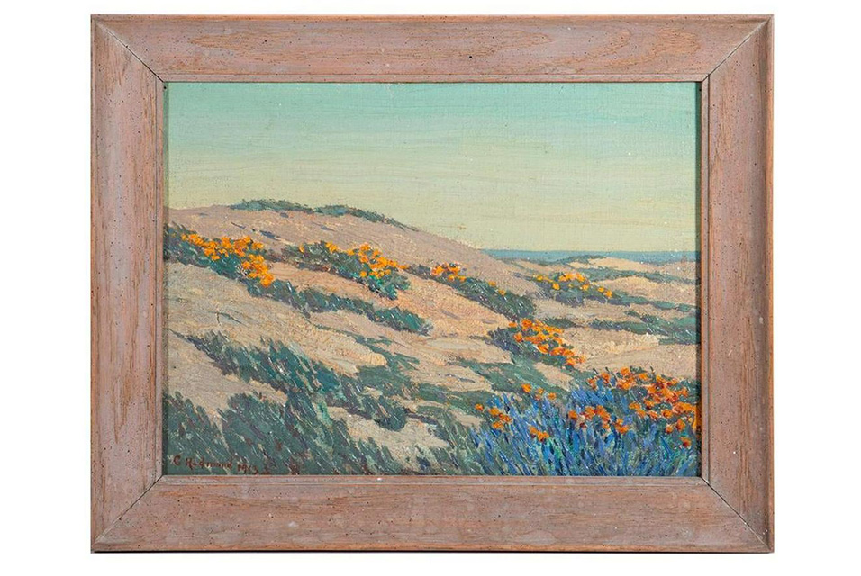 "Granville Redmond (1871 - 1935). Title: Poppies and Lupine. Signature: Lower left. Size: 9"" x 12"". Medium: Oil on canvas. Estimate $15,000 - $25,000."