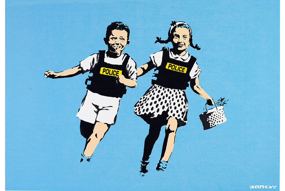 BANKSY, Jack and Jill (Police Kids), screenprint in colors, on wove paper Image: 17¾ x 25½ in. (45 x 65 cm.) Sheet: 19⅝ x 27½ in. (50 x 70 cm.). Estimate: $10,000-15,000. © Christie's Images Ltd 2020.