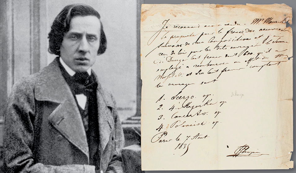 Very rare, beautifully signed Chopin copyright document for a Scherzo, Piano Concerto, Grand Polonaise, and Mazurkas. Estimate: $30,000+.
