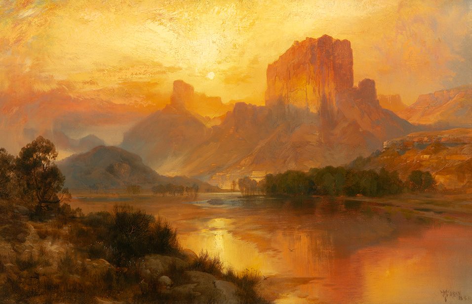 Thomas Moran (1837–1926), Green River, Wyoming (1883), oil on canvas, 13.25 × 20 in. Estimate: $1,000,000-1,500,000. Sold at the 2020 Auction: $1,633,800.