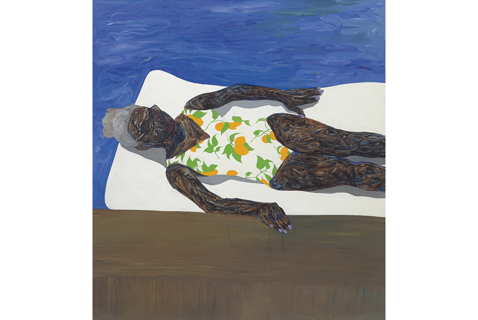 Amoako Boafo (b.1984), The Lemon Bathing Suit, signed, inscribed and dated 'AMOAKO M BOAFO 2019 KING' centre right, oil on unstretched canvas, 205.7 x 193 cm (80 7/8 x 75 7/8 in.) Painted in 2019. Estimate £30,000 - 50,000. Result £675,000. Image courtesy of Phillips.