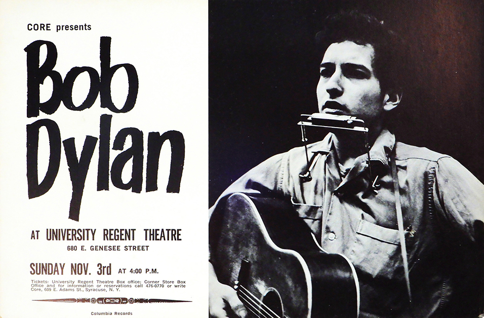 Rare and important Bob Dylan poster for Nov. 3, 1963 show produced by Congress of Racial Equality (CORE) at University Regent Theater, Syracuse, New York. Estimate $3,000-$5,000.