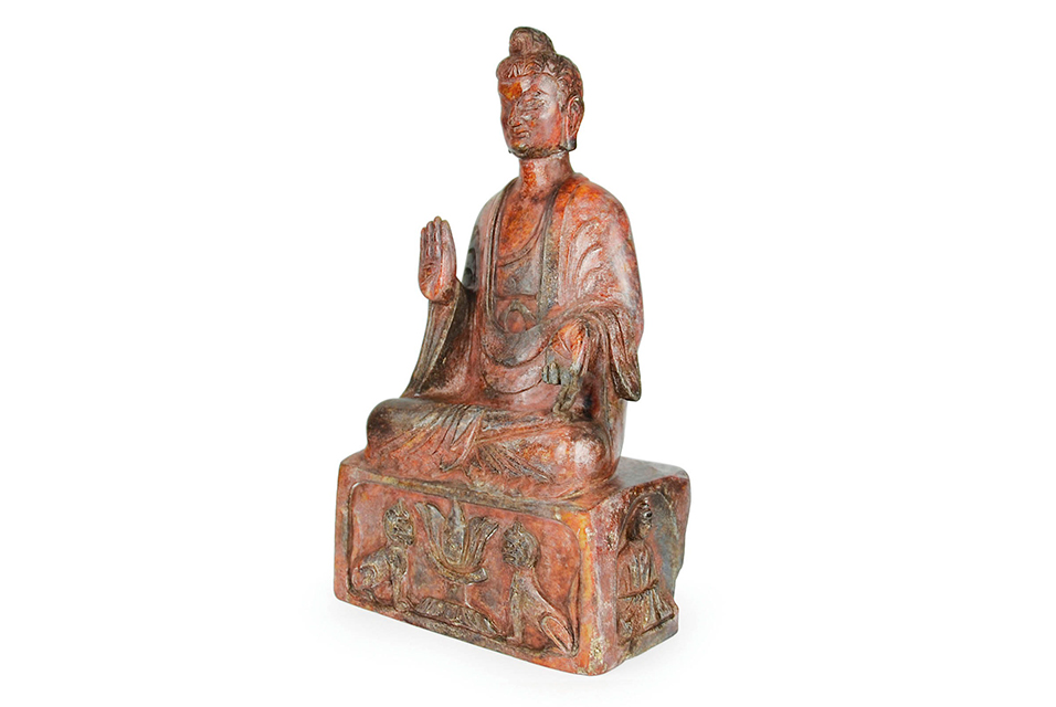 Lot 34 Northern Wei, A Very Rare Jade Carving of Sakyamuni Maitreya Seated on a Plinth.
