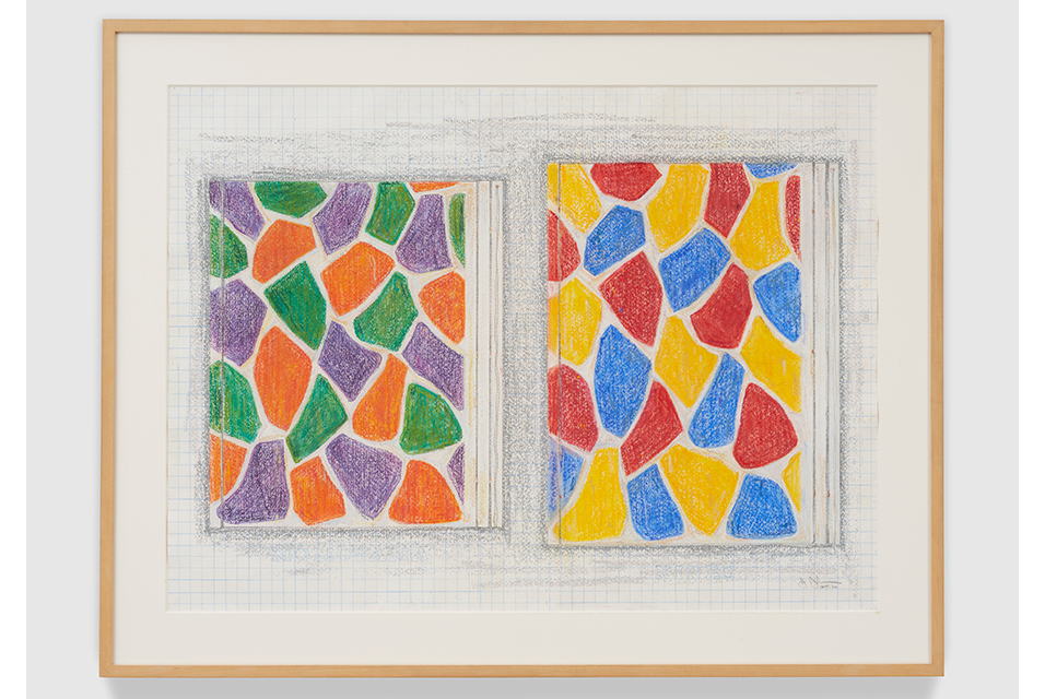 "Jasper Johns, Two Paintings, 2006. Pastel and graphite pencil on paper, 22-13/16"" × 31-1/8"" (57.9 cm × 79.1 cm) 28-1/2"" × 36-1/2"" × 1-1/2"" (72.4 cm × 92.7 cm × 3.8 cm), frame. © 2020 Jasper Johns/licensed by VAGA at Artists Rights Society (ARS), NY. Courtesy the Donald B. Marron Family Collection, Acquavella Galleries, Gagosian, and Pace Gallery."