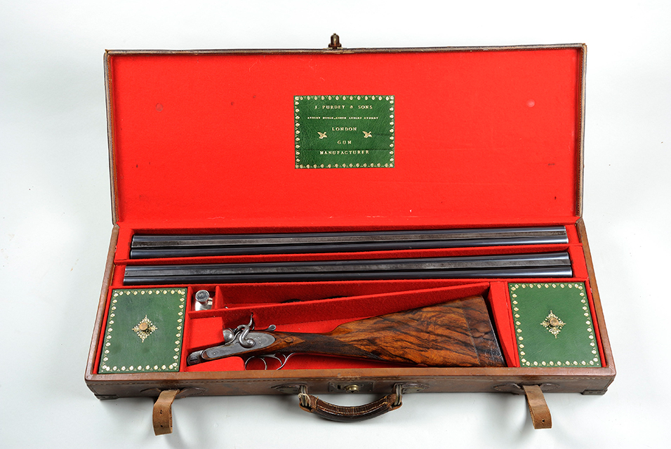 A scarce 12-bore top lever bar-in-wood hammer live pigeon gun, also by J. Purdey & Sons, built in 1884 for the Compte de Casserta who won the Grand Prix du Casino, Monte Carlo in 1884, most likely with this gun. It is expected to fetch £12,000 – 15,000.