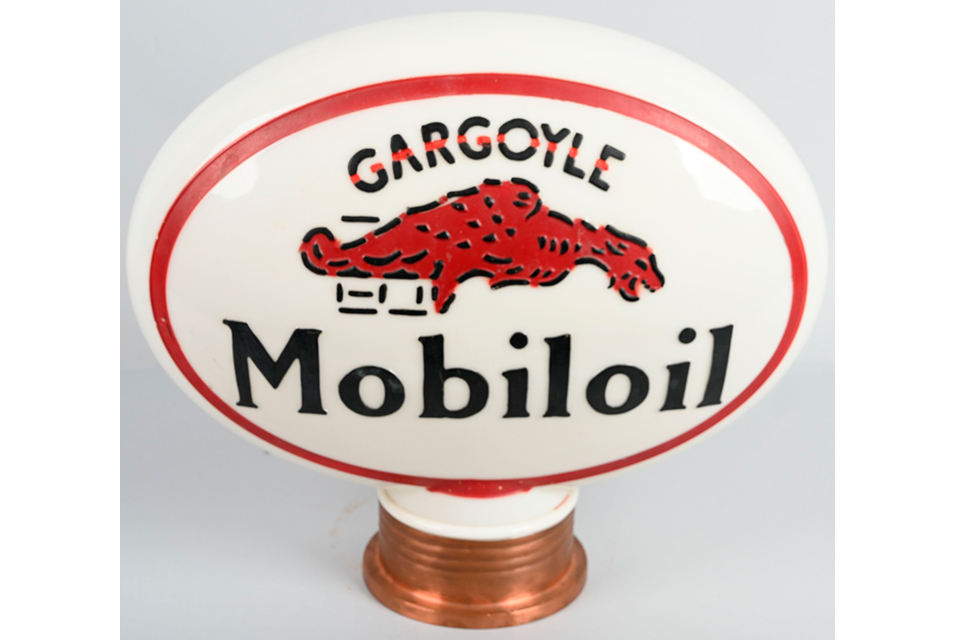 Mobiloil Gargoyle OPC oval gas pump globe, rated 9.5, excellent color, original copper screw base. Estimate $3,500-$4,500.